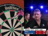 PDC World Championship Darts Windows Play in career mode is the same as it is in Quick Match mode. This is a professional match so thee's no power meter in the lower left corner.