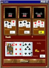 Three Leaves Windows A game in progress. The player's cards are shown at the bottom of the screen together with their score.