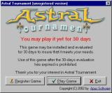 Astral Tournament Windows The nag screen shown when an unregistered game loads