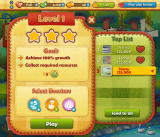 Farm Heroes Saga Browser Starting level 1. The goals are listed here. Photos blurred for privacy.