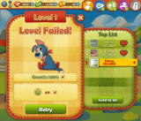 Farm Heroes Saga Browser Level failed. Retry? Photos blurred for privacy.