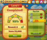 Farm Heroes Saga Browser A cleared level screen. Photos blurred for privacy.