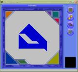 The game loads displaying a random puzzle. The tiles needed to complete it are neatly tucked away in the corners. The dice icon on the right selecta another random puzzle