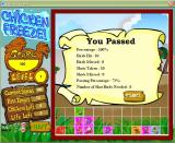 Chicken Freeze! Windows At the end of each level the player's score is presented.