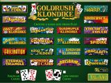 Goldrush Klondike Windows The game's main menu. The player selects their game, the card face, and then clicks 'Play'