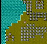 Otaku no Seiza: An Adventure in the Otaku Galaxy NES Mountains with visible dungeon entrance