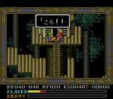 Ys IV: Mask of the Sun SNES Forest village. Adol is bothered by a dog
