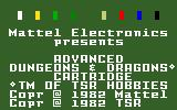 Advanced Dungeons & Dragons: Treasure of Tarmin Cartridge Intellivision Title screen