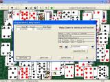 FreeCell Wizard Windows At the end of a successful game the cards dance around the screen and are partially obscured by the game's statistics. 