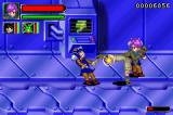 Dragon Ball GT: Transformation Game Boy Advance Trunks kicks enemy