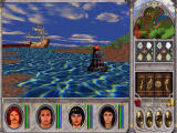 Might and Magic VI: The Mandate of Heaven Windows Nice detail - a buoy floating in water. A ship is anchored nearby