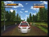 Rally Master Pro Zeebo About to cross a checkpoint in a dirt road.