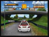 "Rally Master Pro Zeebo Going under a bridge. Here we can see in game advertising for <moby game=""Galaxy on Fire 2"">Galaxy on Fire 2</moby>."