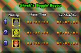 Shrek: Swamp Kart Speedway Game Boy Advance When you finish a race, you can see how often you and your opponents are at any of the top three positions