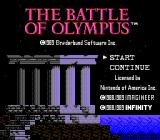 The Battle of Olympus NES Title screen