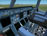 Fly the Airbus A380 Windows View from A380 pilot seat, with a slightly fuzzy panel, as is normal in 3D view. (FS2k2)