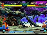 Marvel Super Heroes vs. Street Fighter PlayStation This version has no 2 on 2 mode but in compensation has the Cross-Over mode and allows you play tag-team battles against a mirror image of your team.