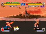 Fatal Fury: Wild Ambition PlayStation Terry Bogard launches a power wave to Joe Higashi.