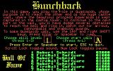 Hunchback DOS Info screen (cga)