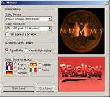 The Mummy Windows When the game is played for the first time the player is prompted for basic setup information. This is the UK release but other European languages are still available.