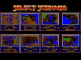 SimCity FM Towns Scenario selection screen