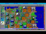 SimCity FM Towns Main game play screen with Boston loaded.  Windows can be moved and re-sized.  Game is running with English text.