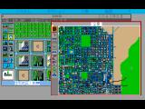 SimCity FM Towns Map window with Kyoto loaded.  Game is running with Japanese text.