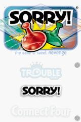 Battleship / Connect Four / Sorry! / Trouble Nintendo DS Sorry title screen