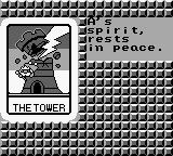 Castle Quest Game Boy Losing a game, tarot screen.