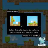 Pivot Browser Game instructions. Collect the gold chests by matching their rotation and touching them.