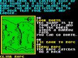 Souls of Darkon ZX Spectrum Fashioning a grappling hook from two inventory items to get up the cliff.