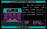 Crime Lab: Case of the Missing Masterpiece DOS This is a screen from the 'Review the Case Reports' option which sets the scene for the game. The last screen in this sequence states that the criminal was cut on broken glass as they left