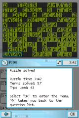 CrossworDS Nintendo DS Puzzle solved info.