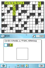 CrossworDS Nintendo DS Switching to German language gives different 555 crosswords in German.