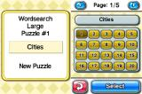 CrossworDS Nintendo DS Word search table selection.