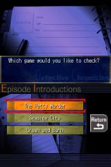 Jake Hunter: Detective Chronicles Nintendo DS Database info lets you get acquainted with the cases in the game.