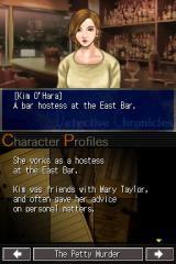 Jake Hunter: Detective Chronicles Nintendo DS Character profiles can be checked in the database.