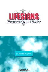 LifeSigns: Surgical Unit Nintendo DS Main menu.