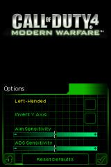 Call of Duty 4: Modern Warfare Nintendo DS Options screen.
