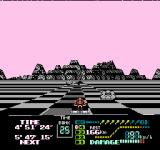 Famicom Grand Prix II: 3D Hot Rally NES Racing by some grumpy looking rocks in the badlands.