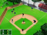 Backyard Baseball 2001 Windows Three people going for the same ball. That'll end well.