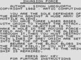 Invasion Force ZX81 Title screen and instructions