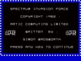 Invasion Force ZX Spectrum Title screen