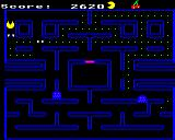 Snapper BBC Micro The red and cyan ghosts has been eaten and turned into a pair of eyes
