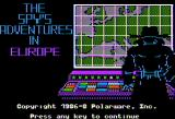 The Spy's Adventures in Europe Apple II Title screen (standard hi-res)