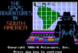 The Spy's Adventures in South America Apple II Title screen (double hi-res mode)