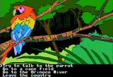 The Spy's Adventures in South America Apple II Talking to parrots... espionage does take its toll on the mind (double hi-res)