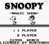 Snoopy's Magic Show Game Boy Title screen.