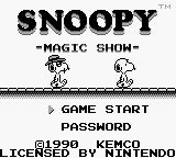 Snoopy's Magic Show Game Boy Game start or Password.