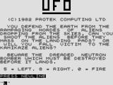 U.F.O. ZX81 Title screen with instructions